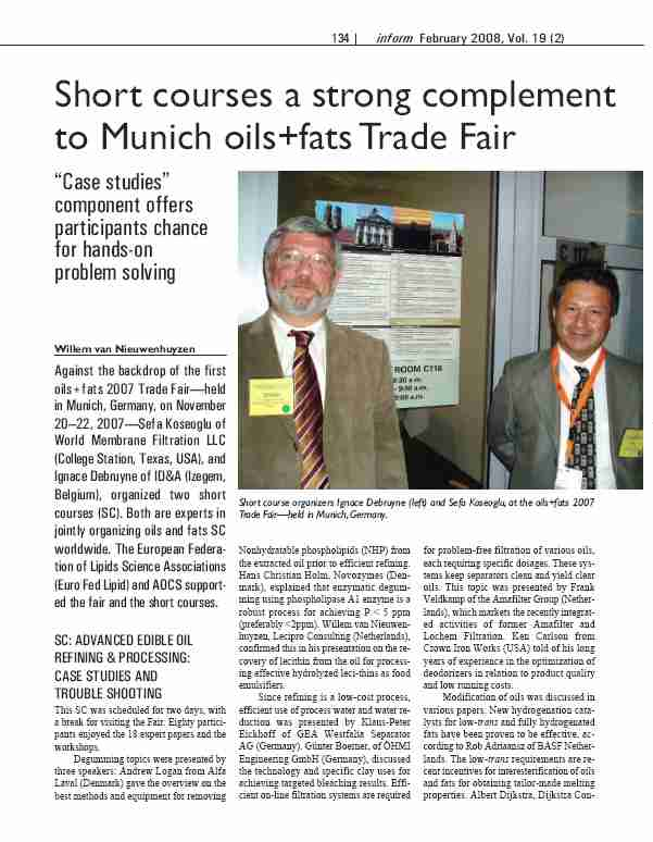 Short Courses a Strong Complement to Munich oils+fats Trade Fair